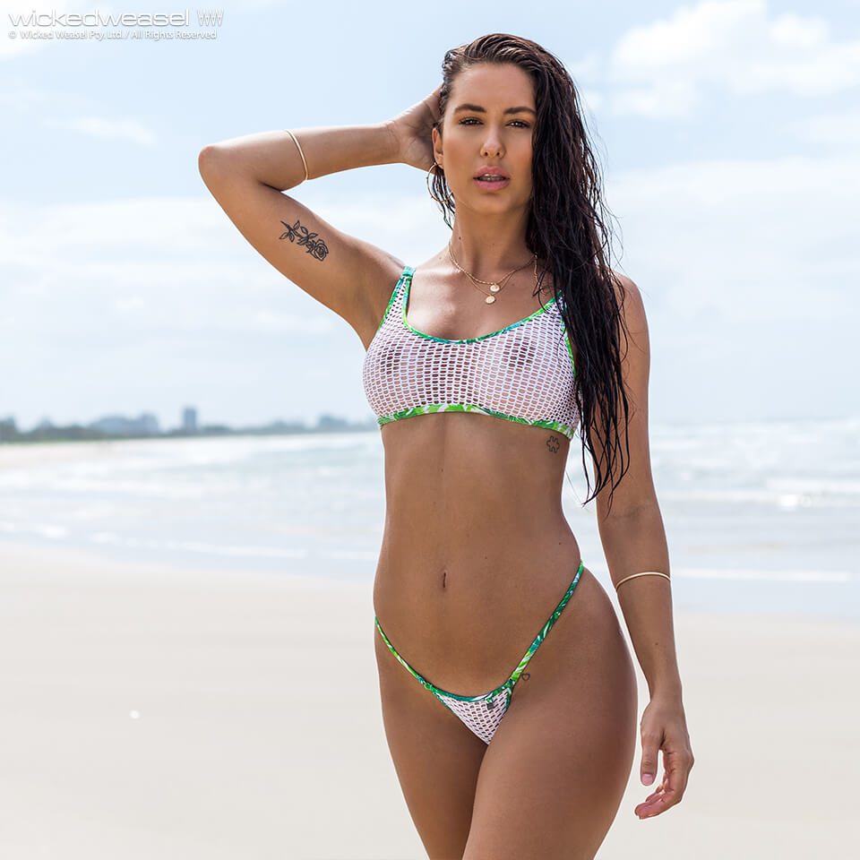 Nwt Guess Aquarius Triangle Top Ruffle String Bikini Bottom M Sfs