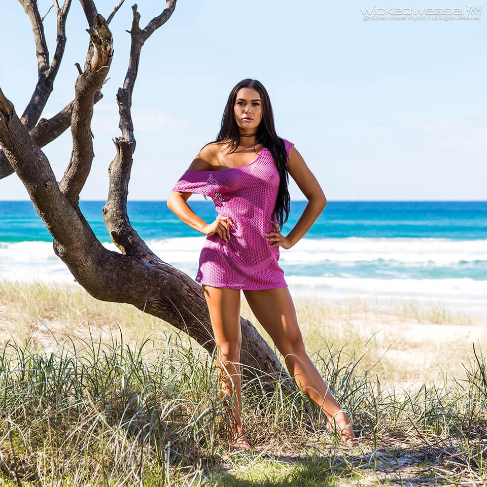 girl wearing sheer mesh dress